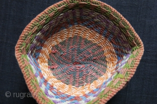 "Iran - Azerbaijan - Kurdish cotton hand knitted ethnic hat. natural colors, circa 1930s. size : 7"" in diameter - 4"" tall - 17 cm - 10 cm"