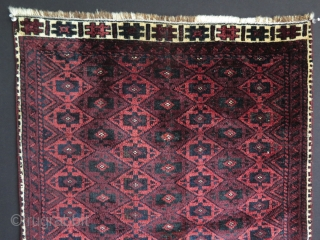 Baluch small rug, open to left asymmetrically knotted with silky wool. It still has great pile. Some part of missing side borders, secured with a selvage. Both end borders are complete. Circa  ...