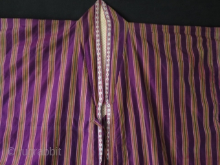 Uzbek large size silk ikat chapan. Cotton lining.