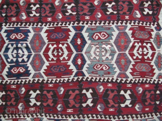 "Central Anatolia - tribal turkmen kilim from Taurus Mountains. good condition/. very minor small repair with good colors. Size: 116"" X 59"" 150 cm X 295 cm"