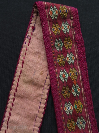 "North Afghanistan Hazara extreme fine embroidery head band. Circa early 20th century. Size: 2"" x 23"" - 5 cm x 59 cm."