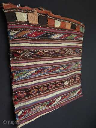 "Shahsavan pile & kilim half of a saddlebag with back. Small repair on the kilim backing. Size as it is closed: 20"" x 22"" - 51 cm x 57 cm."