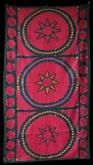 """Uzbekistan Tashkent Palak suzani made as a Curtain. natural colors size: 90"""" - 49""""  230 cm X 125 cm"""