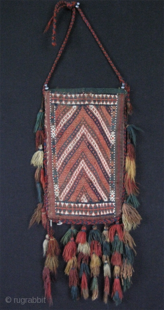 """Turkmen Yomud kilim igsalyk. In great condition. Camel hair used on the backside.  Size: 14"""" x 8"""" - 36 cm x 21 cm (Without tassels)."""
