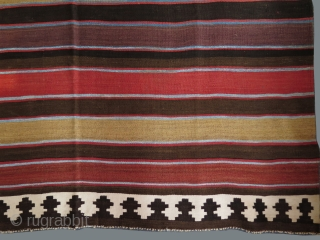"Shahsavan Moghan area kilim. Wool on cotton with natural dyes. Circa 1900 or earlier. Size: 59"" x 109"" - 150cm x 278cm."