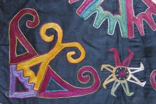 "Uzbekistan Lakai - Kungrat tribal wall hanging. silk embroidery on fine cotton with dyed cotton tassles. Circa 1900 or ealier. size : 21"" X 19.5"" - 53 cm X 50 cm"