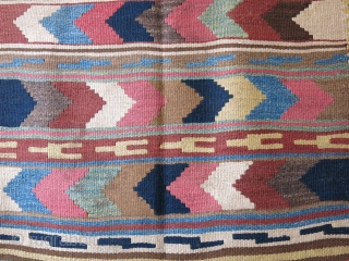 "North Iran, Kurdish tribal main kilim, some browns are camel hair. Very good condition. Circa - second half of 19th. Size- 114"" X 46"" - 290 cm X 116 cm"