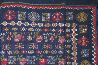 "Georgia - extra weft brocade ethnic kilim. All wool mostly good colors. coul be Armanian weave or Georgian. Woven in 3 panels and joined. Couple tiny repairs. Soze : 52"" X 45""  ..."