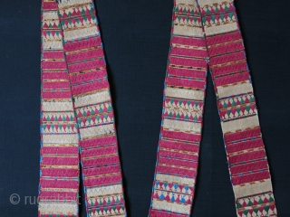 "Turkmen S group both side embroidery ceremonial band. Fine silk embroidery with natural colors. Size : 130"" long little les than 3"" - 330 cm X 7 cm. 19th cent."