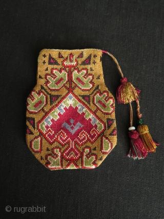 """Uzbekistan Lakai silk cross stitch embroidered pouch. Size: 5.5"""" x 4"""" - 14 cm x 10 cm."""