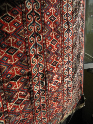 "Turkmen Yomud Salachak prayer rug. All high quality fine wool. Small old repair on the skirt area. Size: 45"" x 41"" -114 cm x 104 cm."