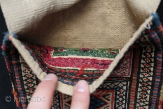 """Shahsevan small saddle bag. Some stains on the back. Original condition no repairs. Circa 1900. Size: 9"""" x 25.6"""" - 23 cm x 65 cm."""