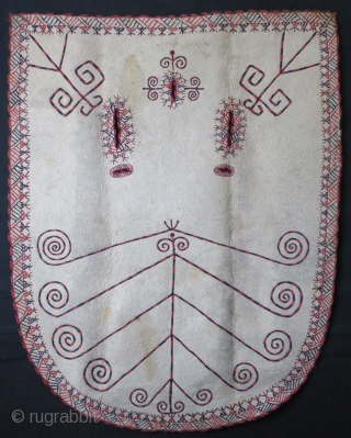 """Turkmen Yomud winter felt horse blanket. Wool embroidery with natural dyes. Circa 1900. Size: 51"""" x 65"""" - 131cm x 166cm."""