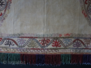 "Kirgiz ceremonial horse blanket, silk and wool embroidery on hand loomed cotton. Corroded reds are wool. Printed cotton backing. Circa 1900 - 1920, size : 34"" by 56"" at bottom - 140  ..."