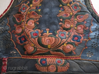Hungarian woman's vest, satin and buttonhole silk embroidery on sheepskin, very bottom black part is hand braided. They were made by master artisans from Carpathians. fairly in good condition.Circa: 1900 - 1920  ...