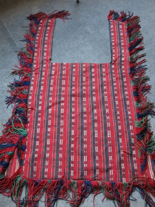 Turkmenistan - YOMUD Tribal horse blanket. Very fine warp faced weave with fine wool and natural colors and traditional designs. Covered with brown felt on the back side. All natural colors. It  ...
