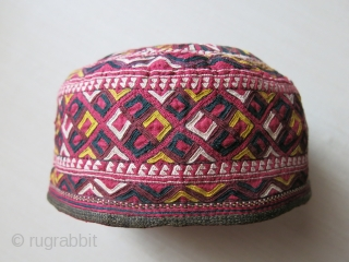 "Turkmen Tekke tribal hat, Fine Turkmen silk embroidery on silk. Lined with plain and printed cotton. loop-manipulation trim. size: 7"" diameter- 4. 1/2"" high.circa, 1920-1930 - (images are close -up shots. workmanship  ..."