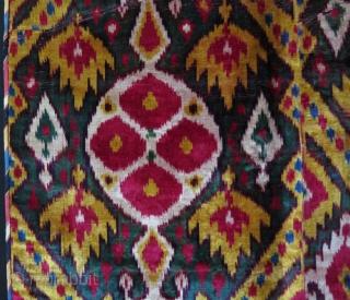 "Uzbekistan silk velvet ikat panel. Circa: First to second quarter of 19th. century. Size: 26"" x 38"" - 66cm x 96cm."