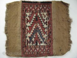 """Turkmen Yomud igsalyk. Camel hair backing. Size: 22cm x 38cm - 9"""" x 15"""" (As backing folded)."""
