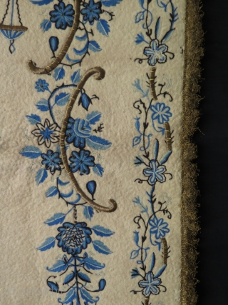 """Ottoman praying felt. Wool and metallic embroidery on felt. Some small moth damages. Size: 37.5"""" x 63"""" - 96 cm x 160 cm."""