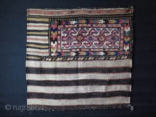 "Iran Tashe - grain bag all wool natural colors. Minor repairs on lower guard border minor holes restored in kilim part. Size : 47"" X 44"" - 120 cm X 112 cm