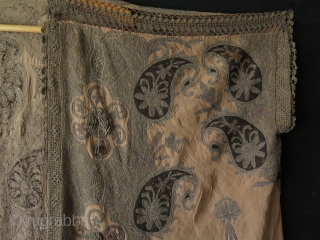 """Syrian silk dress with metallic embroidery. Circa late 19th Century. It has some small tears and one larger one about 5"""" - 12 cm and some stains. I tried to show all  ..."""