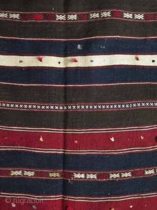 Anatolia Balikesit Turkmen very finely woven stipe mkilim. All wool. Almost all natural colors besides a lighter red. couple tiny wears in center - will be repaired finely before shipping. Circa 1920s  ...