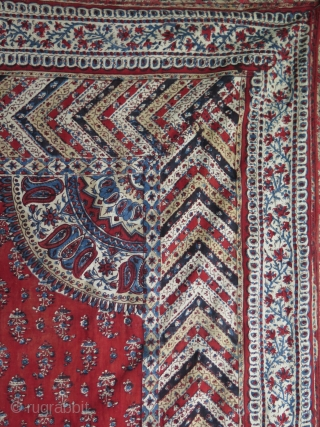 """Persian Block Print. Some small damages on the backing and very little on the front corner. Size approx. 30"""" x 47"""" - 80 cm x 120 cm."""