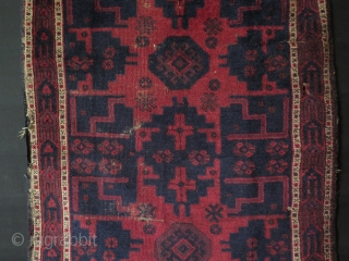 "Baluch small rug. Circa late 19th. century. Some low pile areas. Size: 37.4"" x 50.4"" - 95 cm x 128 cm."