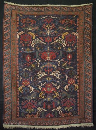 "North East Caucasus dragon pattern Bijov sumak kilim. Saturated colors, some very professional repairs. Size: 45"" x 61"" (115cm x 155cm)."