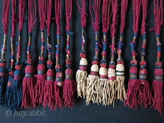 "Kirgiz tribal yurt hanging. Applique embroidery on velvet with silk tassels. Circa 1900 or earlier. size: 80"" X 6"" and 7"" long tassels. - 200 cm X 15 cm - 18 cm."
