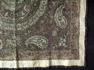 "Anatolian Edirne, Fine silk and metallic embroidery panel.  Size: 34.2"" x 34.23"" - 87 cm x 87 cm."