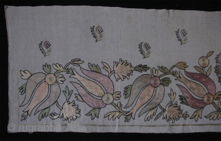 "Ottomasn Textile. Silk fine chain stitch embroidery. Little wear in center blossoming flower. Circa 1900's. Size: 19"" x 70"" - 48cm x 177cm."