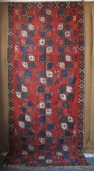"Uzbekistan Lakai - lakay embroidered kilim. Great condition with saturated natural dyes. Early second half of 19th cent. Size: 62"" x 145"" - 158cm x 368cm."