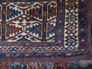 Turkmen Yomud torba, Symmetrical knots, Natural dyes, upper left and right corners has small restorations with old Turkmen wool. One image shows the restoration on corner. It has still almost full pile.  ...