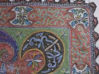 Western Anatolia, Edirne - Adrianople, Very fine metallic and silk mix embroidery wall hanging. Images are close up shots. It is much finer then it looks here, traditional folk art of this  ...