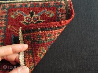 "Small Heriz bagface. Size: 8.4"" x 7.8"" -  21.5 cm x 20 cm."