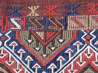 "Anatolian Taurus Mountains tribal clothing bag. Zili weave.  Size ; 2' 7"" x 3' 4"" - ( 79 cm x 102 cm )."