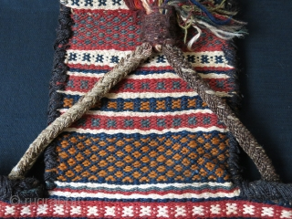 Iran - Qashkai tribal both side salt bag with saturated natural dyes. wool, goat hair and some cotton mixed weave. Side wrapping and is all goat hair and in great condition. size  ...