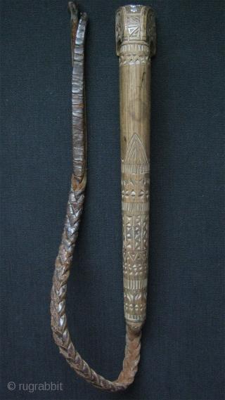 "Turkmen hand carved whip. Size: Wood part 11.5"" - 29cm long, Leather part 21"" – 53cm."
