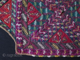 "Turkmen camel trapping fragment. Fine silk embroidery. Size: 10.5"" x 16"" - 27 cm x 40 cm."