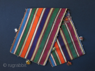 """Azerbaijan silk jajim double bag. Circa 1920's. Size: 9.5"""" x 30"""" - 25 cm x 76 cm."""
