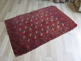 "Turkmen Tekke wedding rug, very small area in center repaired very professionaly. It has deep saturated colors. Silk highlights on borders. Circa: mid 19th century. Size: 42.5"" x 62.5"" - 108 cm  ..."