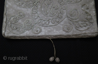 "Ottoman - Balkan silver embroidered bag & pouch with a mini bag extension. All fine silver work on wool banat fabric. Both side has different motifs. Lining is silk. Sizes; 6.3"" x  ..."