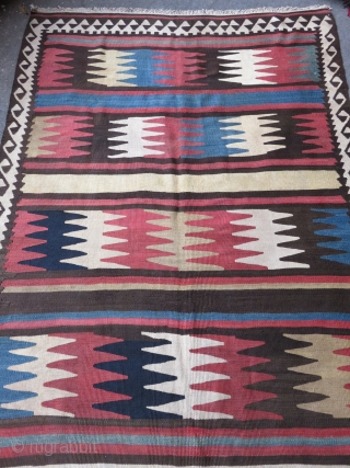 "IRAN Shshsavan area Kilim, one end restored with couple small holes. Size: 90"" X 54"""