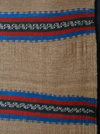 "Iran - Veramin tribal kilim with Camel hair. Natural colors from vegetable dyes. Fine weave and great condition. Circa 1900. Size : 60"" by 32"" -- 153 cm X 82 cm"