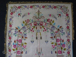 """Ottoman praying felt. Wool and metallic embroidery on felt. Some small moth damages and stains. Size: 37"""" x 63"""" - 94 cm x 161 cm."""