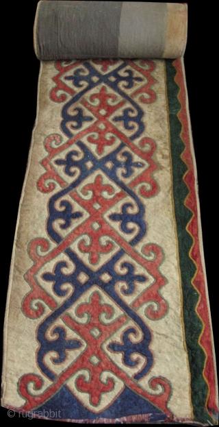 Central Asia - Kirgiz Yurt inner decoration felt. Size: 25 inch x 23 feet -64cm x 7 meters.