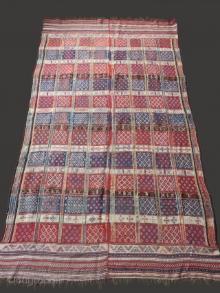 """Northern Iran - Mazanderan extra weft Kilim, woven in two pieces and joined. Natural colors with traditional designs. Very soft wool and handle. Circa late 19th cent. Size: 94"""" x 56"""""""