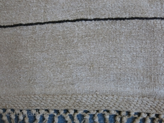"Western Anatolia - Aydin - Tire Hemp and goat hair minimalist kilim, Black lines are goat hair. Braided ends. Size: 113"" X 63"" - 288 cm X 160 cm"